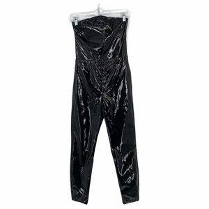 ASOS Shiny Black Faux Leather Strapless Jumpsuit
